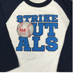 Strike Out ALS Baseball Style T-shirt - Blue