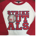 Strike Out ALS Baseball Style T-shirt - Red